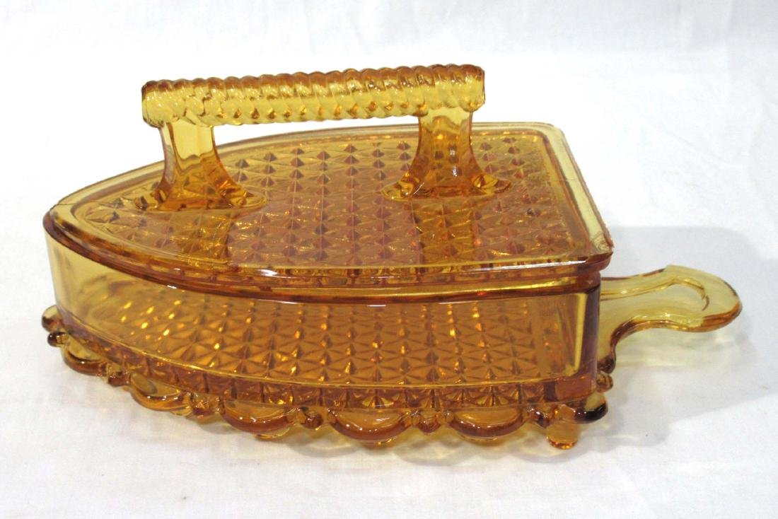 Amber EAPG Iron Covered Dish