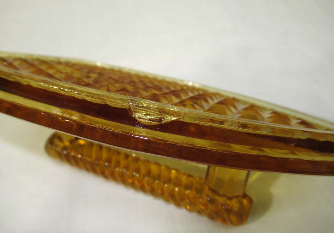 Amber EAPG Iron Covered Dish - 3