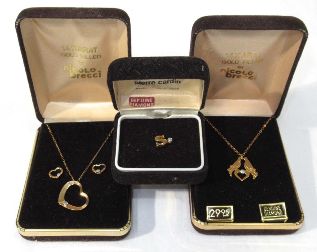 3pc Gold Filled Jewelry w/ Diamonds