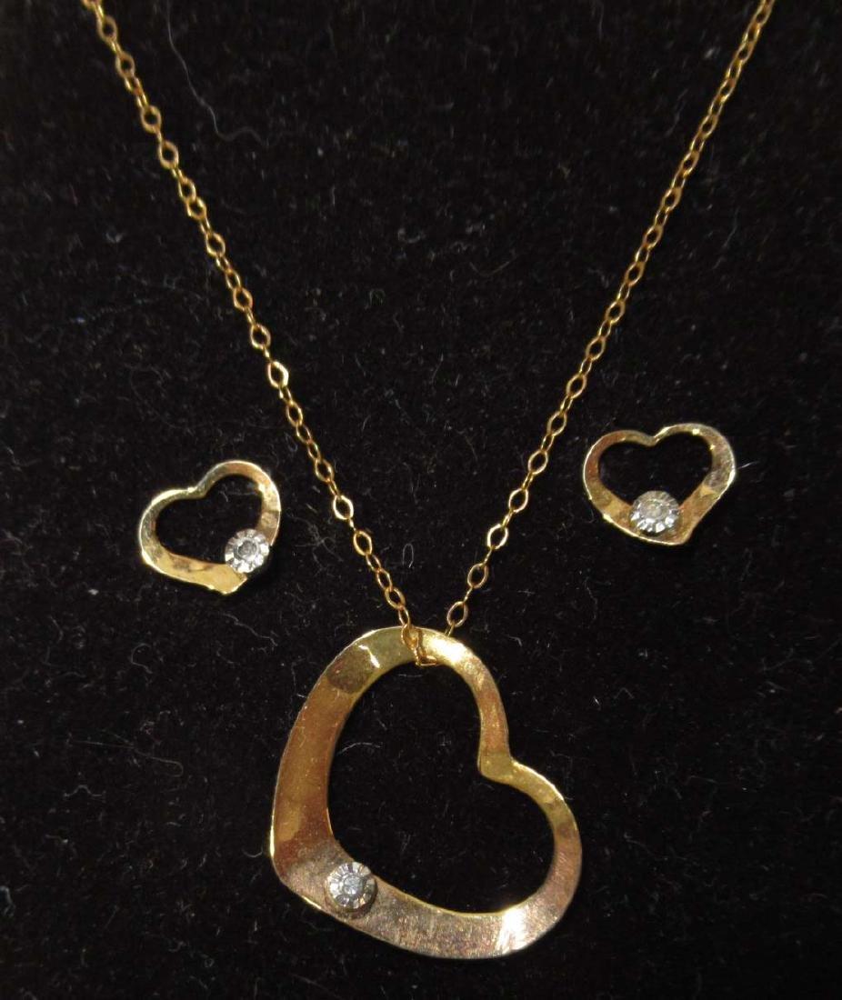 3pc Gold Filled Jewelry w/ Diamonds - 2
