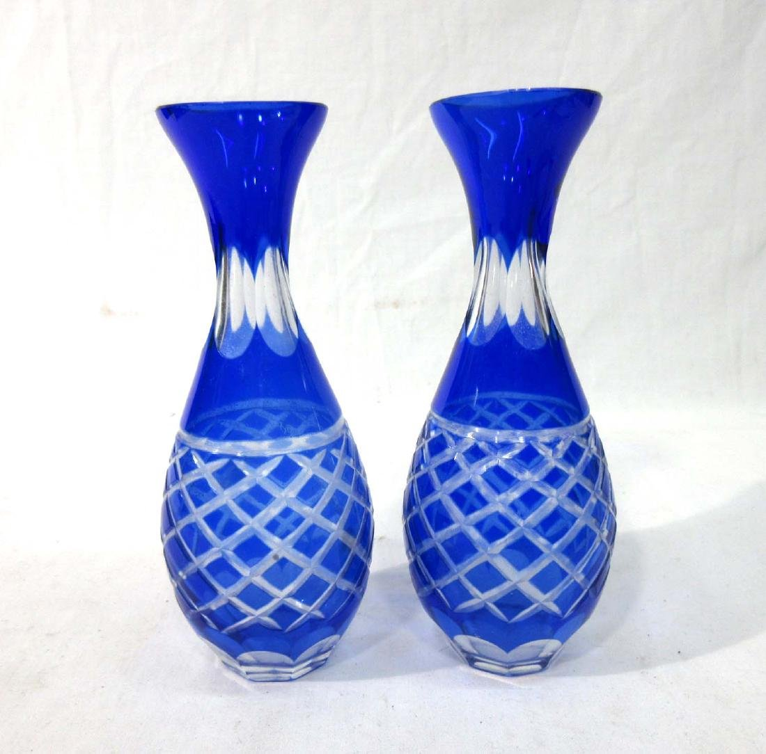 Pr Cobalt Cut to Clear Vases