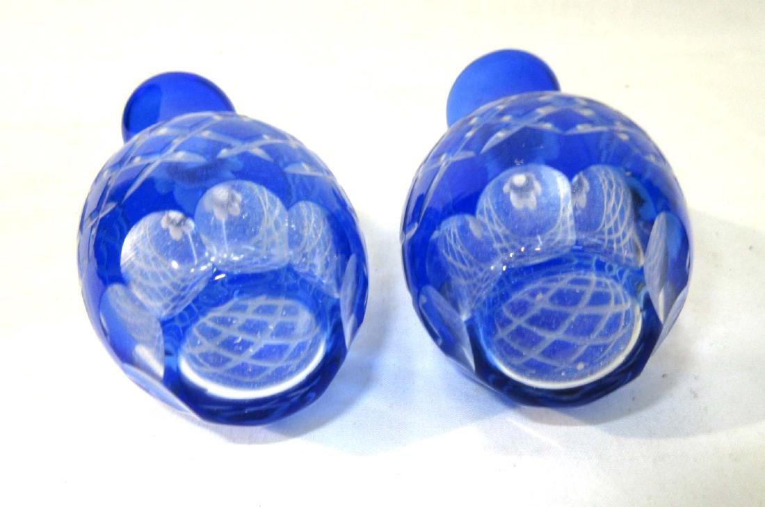 Pr Cobalt Cut to Clear Vases - 2