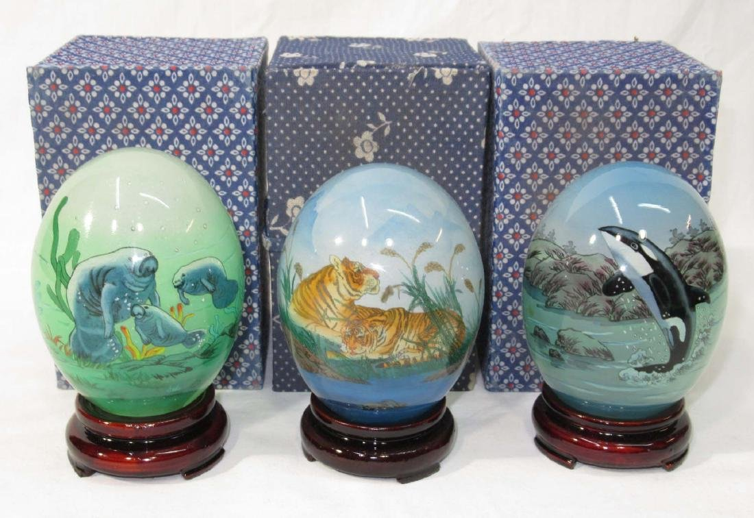 3 Reverse Painted Oriental Eggs w/ Stands