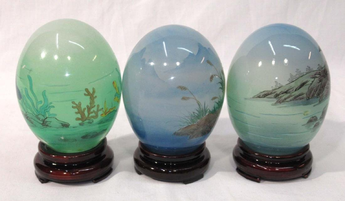 3 Reverse Painted Oriental Eggs w/ Stands - 2
