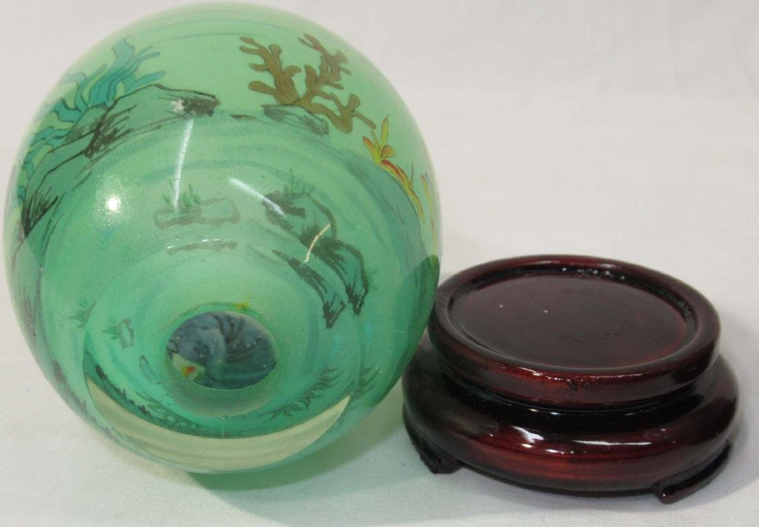 3 Reverse Painted Oriental Eggs w/ Stands - 3