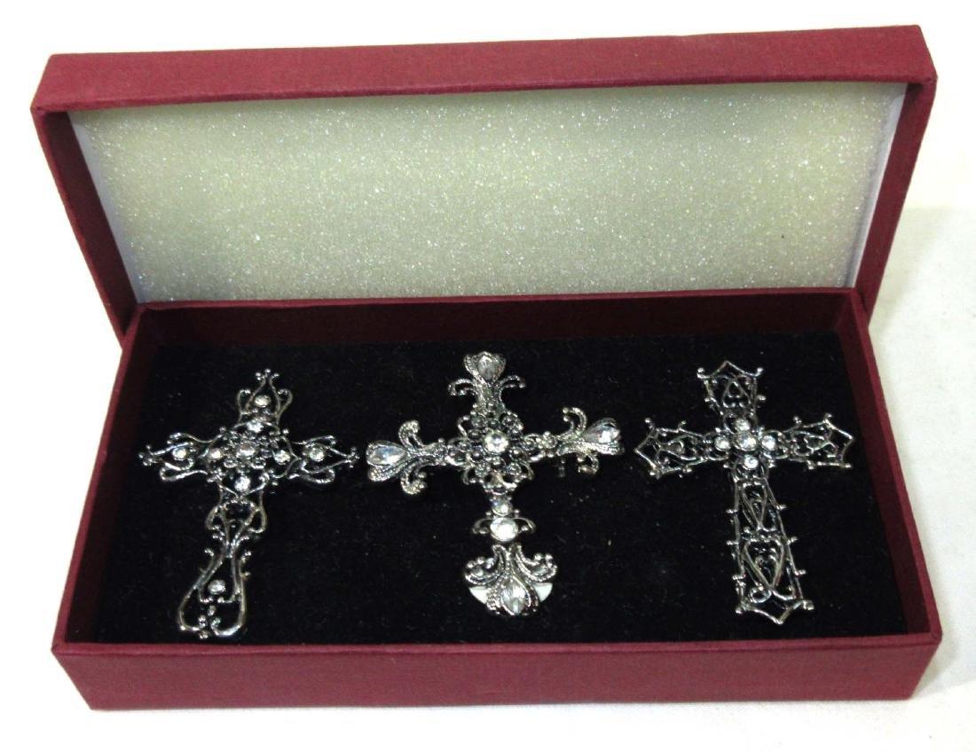3 Rhinestone Cross Pins