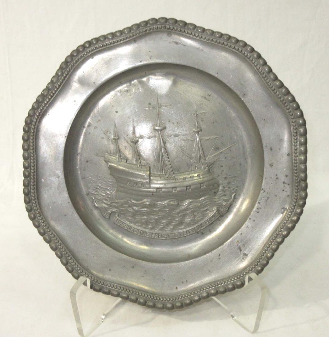 Pewter Hanging Plate w/ Ship
