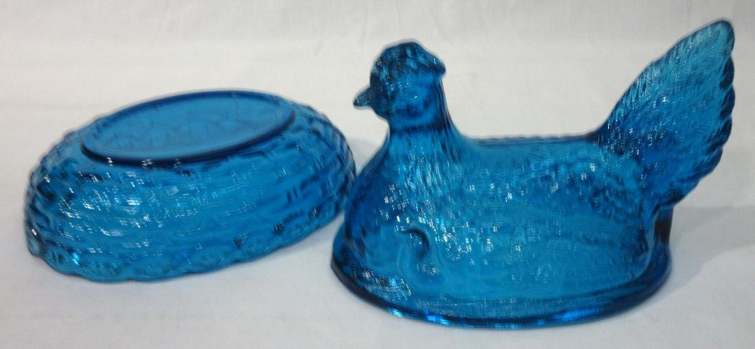 Blue Glass Covered Dish - 2