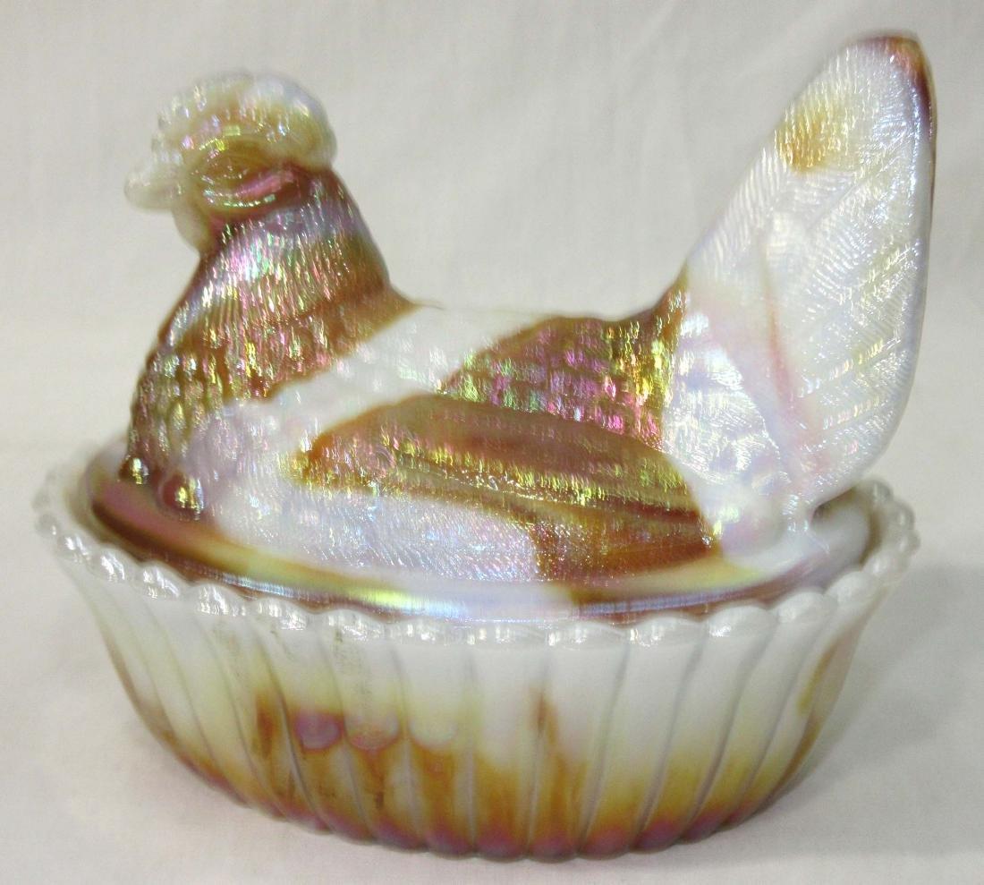 Iridescent Slag Glass Hen on Nest