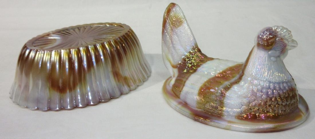 Iridescent Slag Glass Hen on Nest - 2