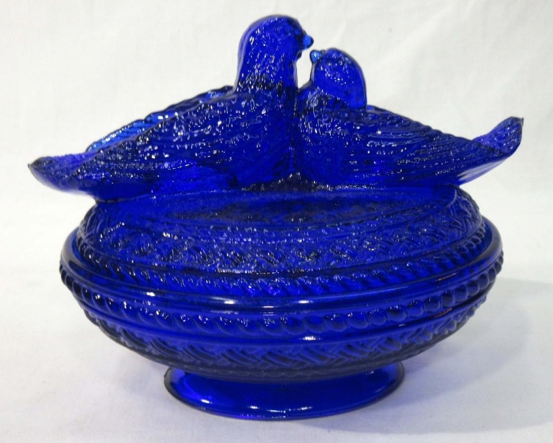 Cobalt Love Birds Covered Dish