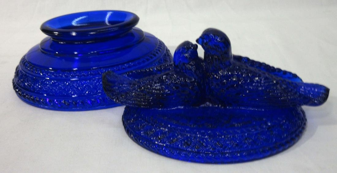 Cobalt Love Birds Covered Dish - 2