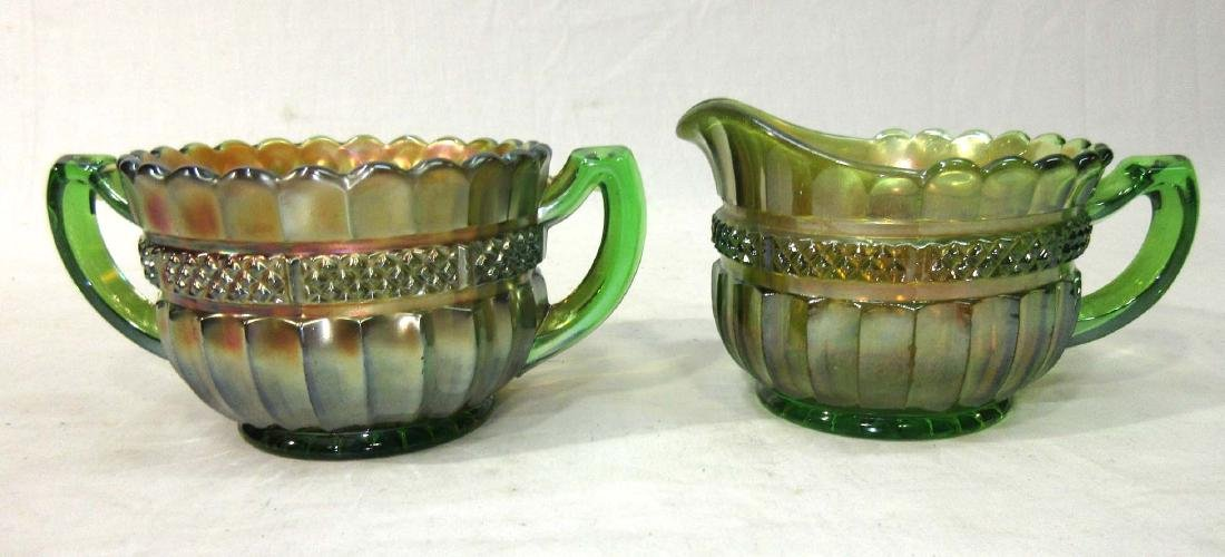 Carnival Glass Cream & Sugar Mkd Northwood - 2