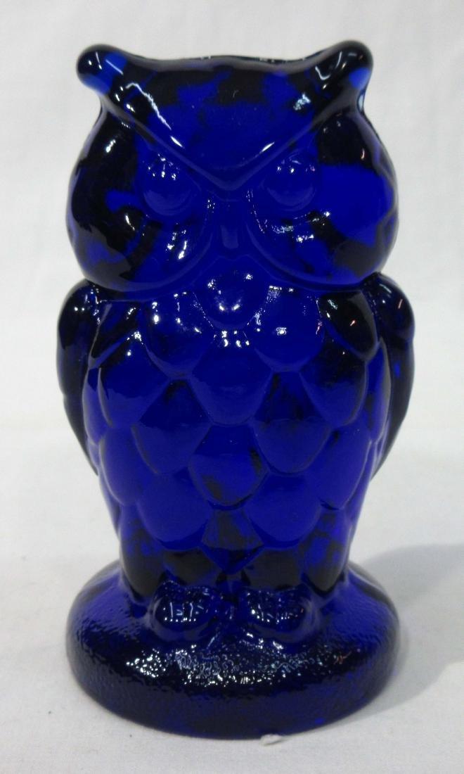 Cobalt Glass Owl Paperweight