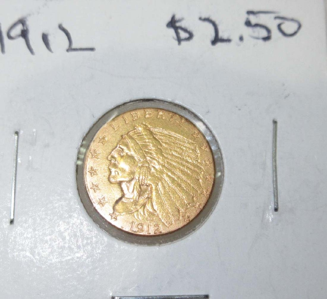 1912 $2 1/2 Gold Indian Coin