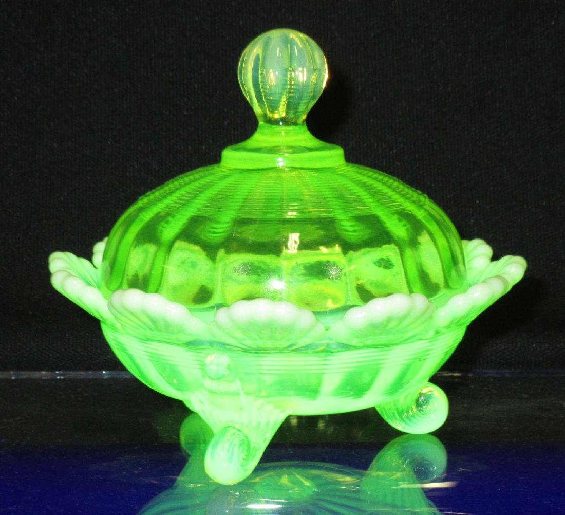 Vaseline Opalescent Glass Footed Dish