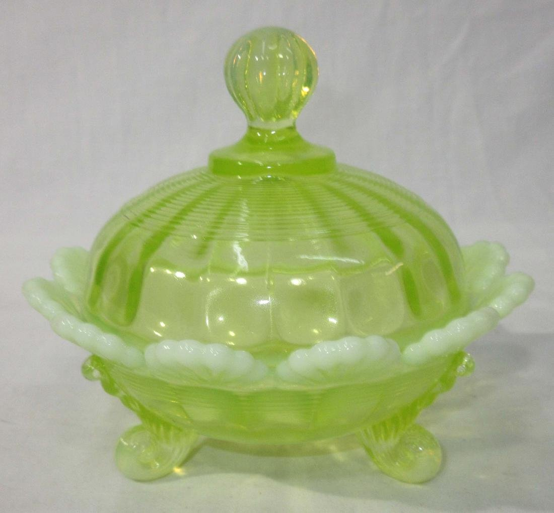 Vaseline Opalescent Glass Footed Dish - 2