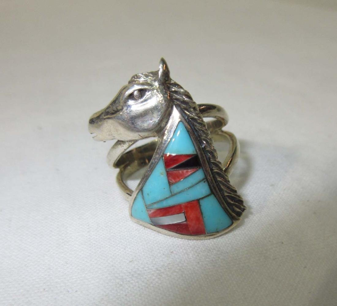 Inlaid Turquoise Silver Horse Ring