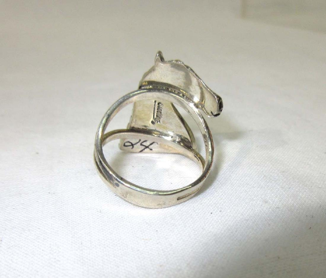 Inlaid Turquoise Silver Horse Ring - 2