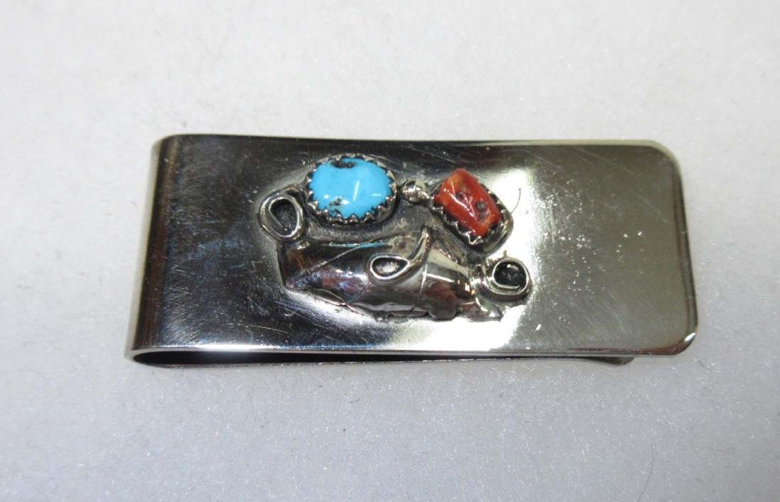 Navajo Sterling Turq. Coral Money Clip