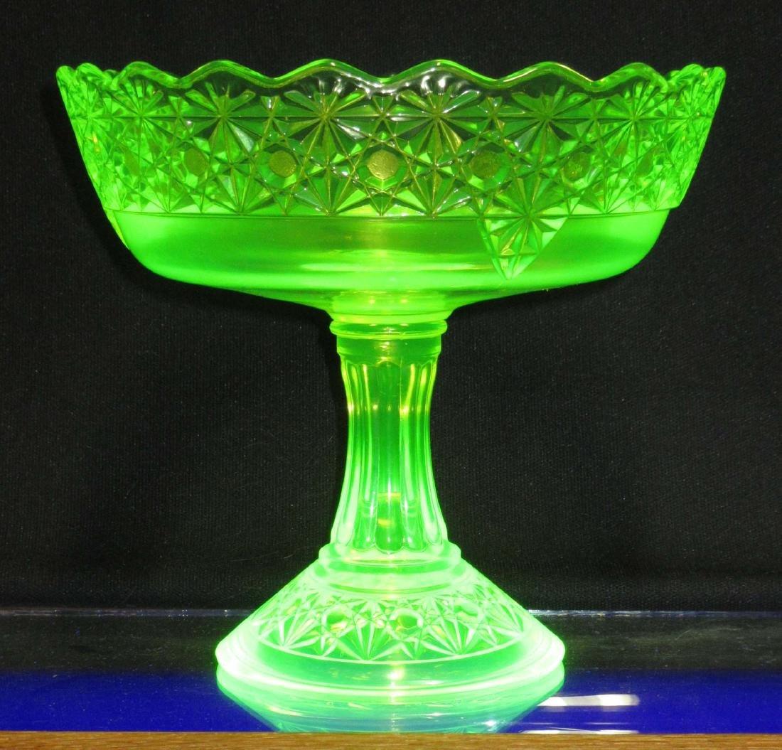 Vaseline Glass Lg. Compote