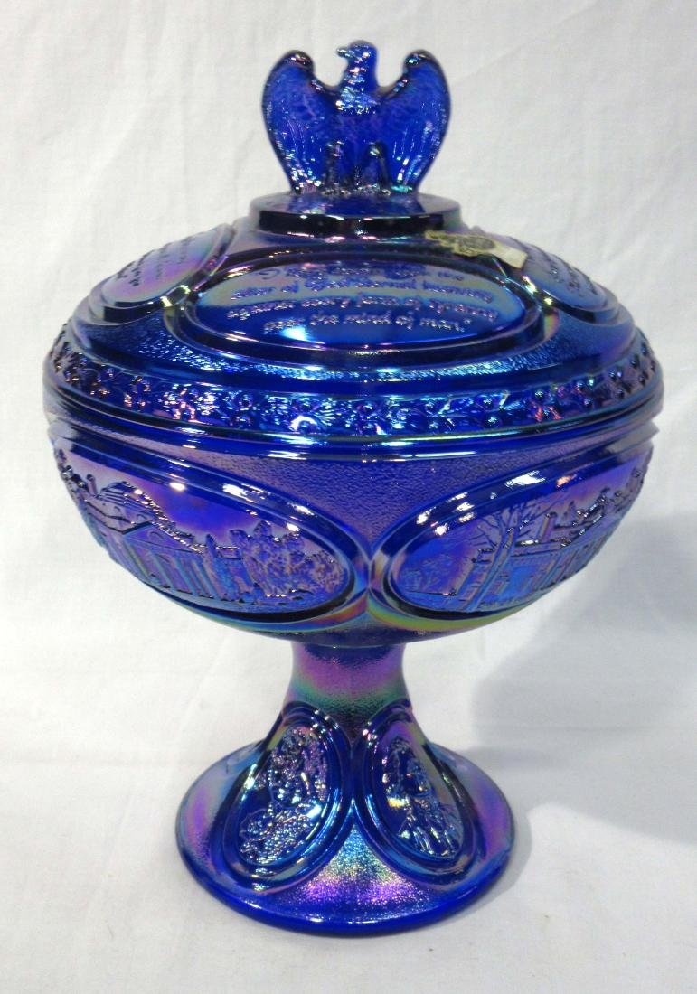 Fenton Carnival Glass Covered Compote