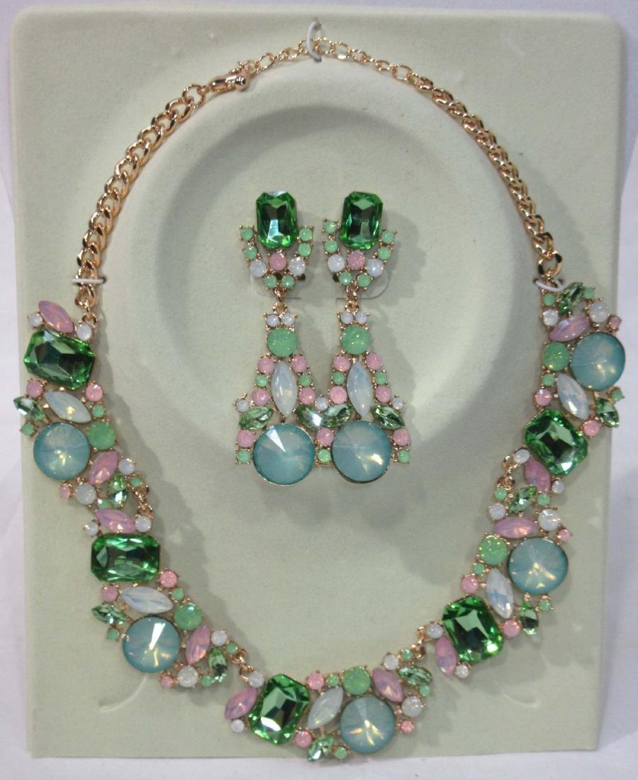 Rhinestone Necklace & Earring Set