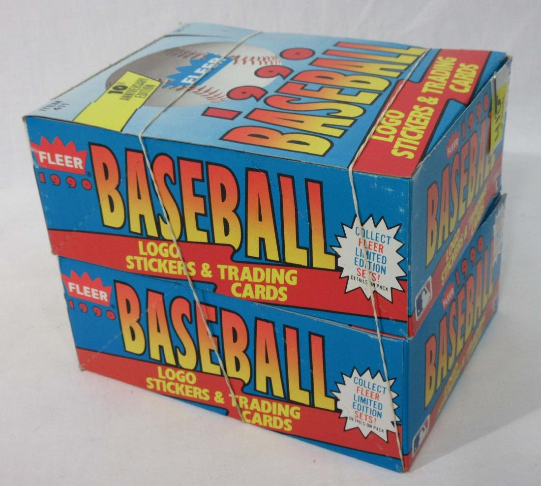 2 Factory Boxes 1990 Fleer Baseball Cards