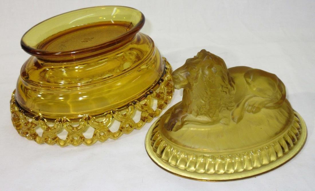 Amber Lion Covered Dish - 2