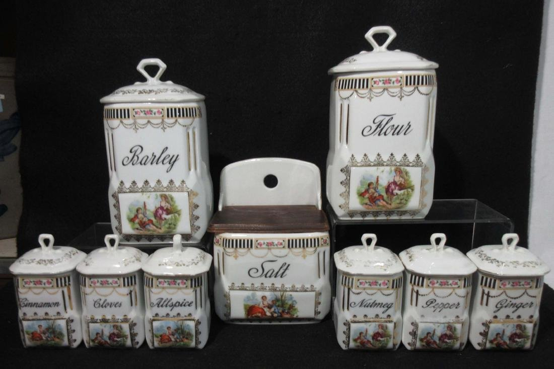9pc Czech.. Spice & Canister Set