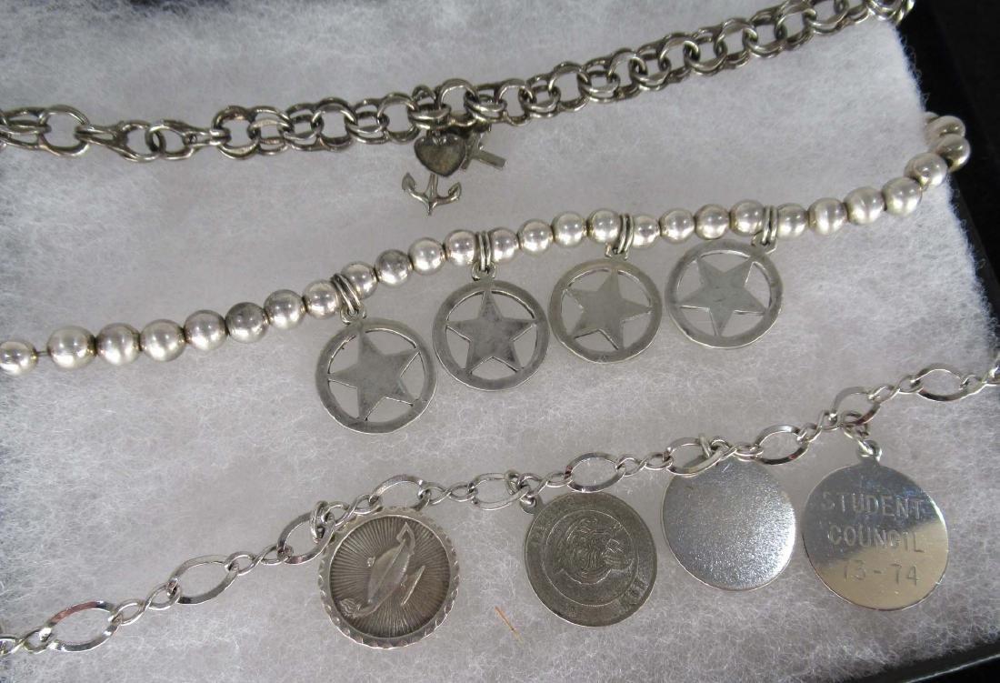 3 Sterling Charm Bracelet w/ Sterling Charms