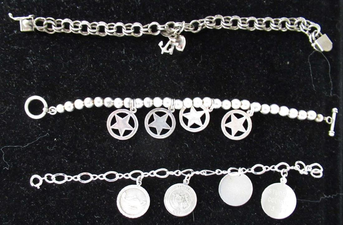 3 Sterling Charm Bracelet w/ Sterling Charms - 2