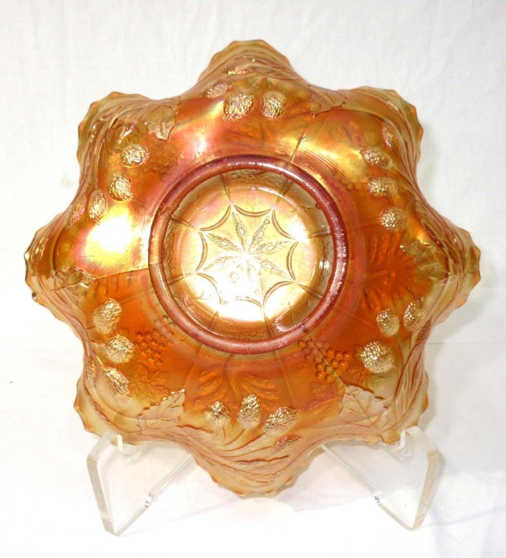"Carnival Glass Bowl ""Peacock & Grape"" - 3"