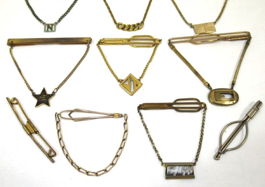 12 Goldtone Vtg. Tie Bars - 2