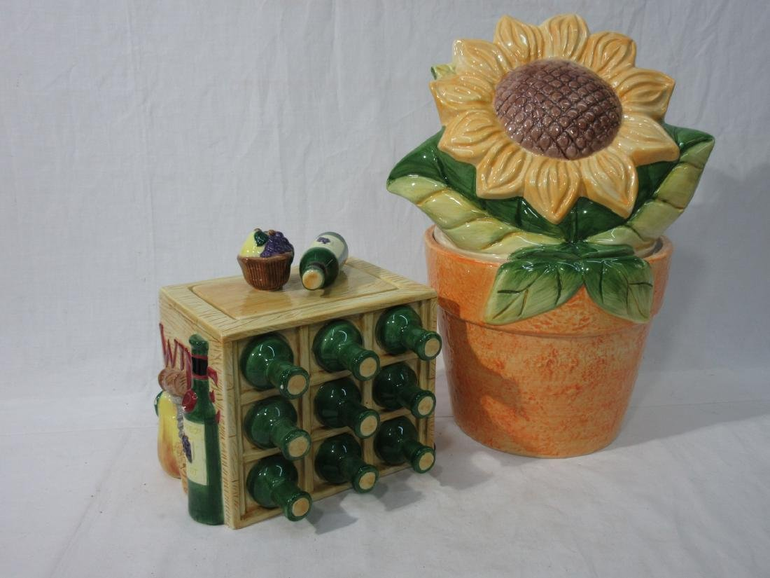 2pc Sunflower & Wine Cookie Jars