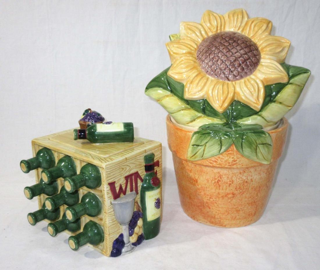 2pc Sunflower & Wine Cookie Jars - 2