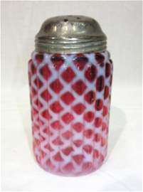 Vict. Ribbed Cranberry Opal. Muffineer