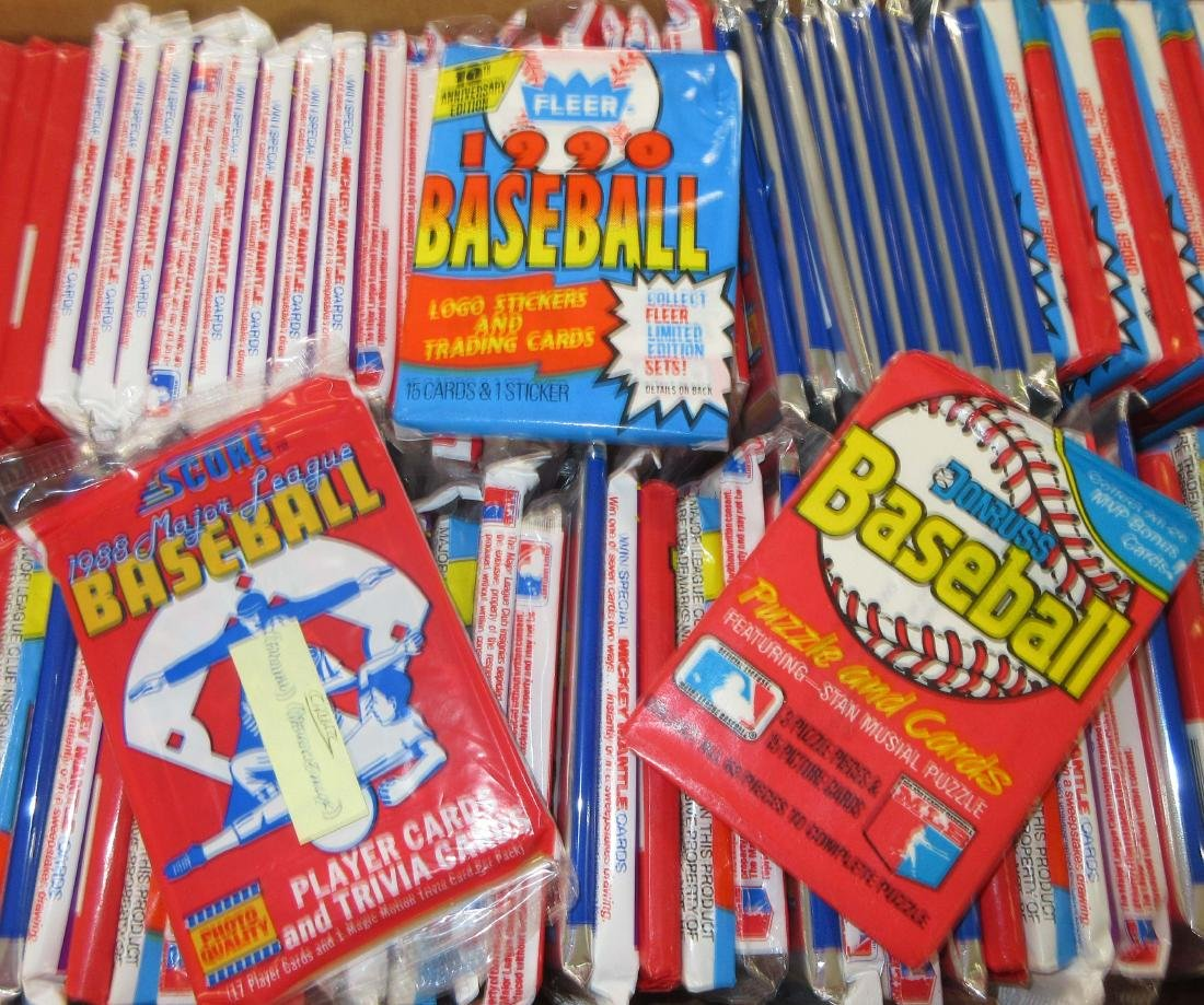 Approx. 150 Baseball Card Wax & Cello Packs - 2