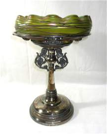 Threaded Loetz Brides Bowl on Stand