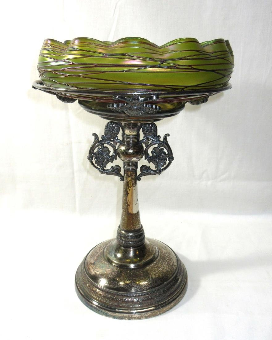 Antique Glassware Collectibles Threaded Loetz Brides Bowl On Stand