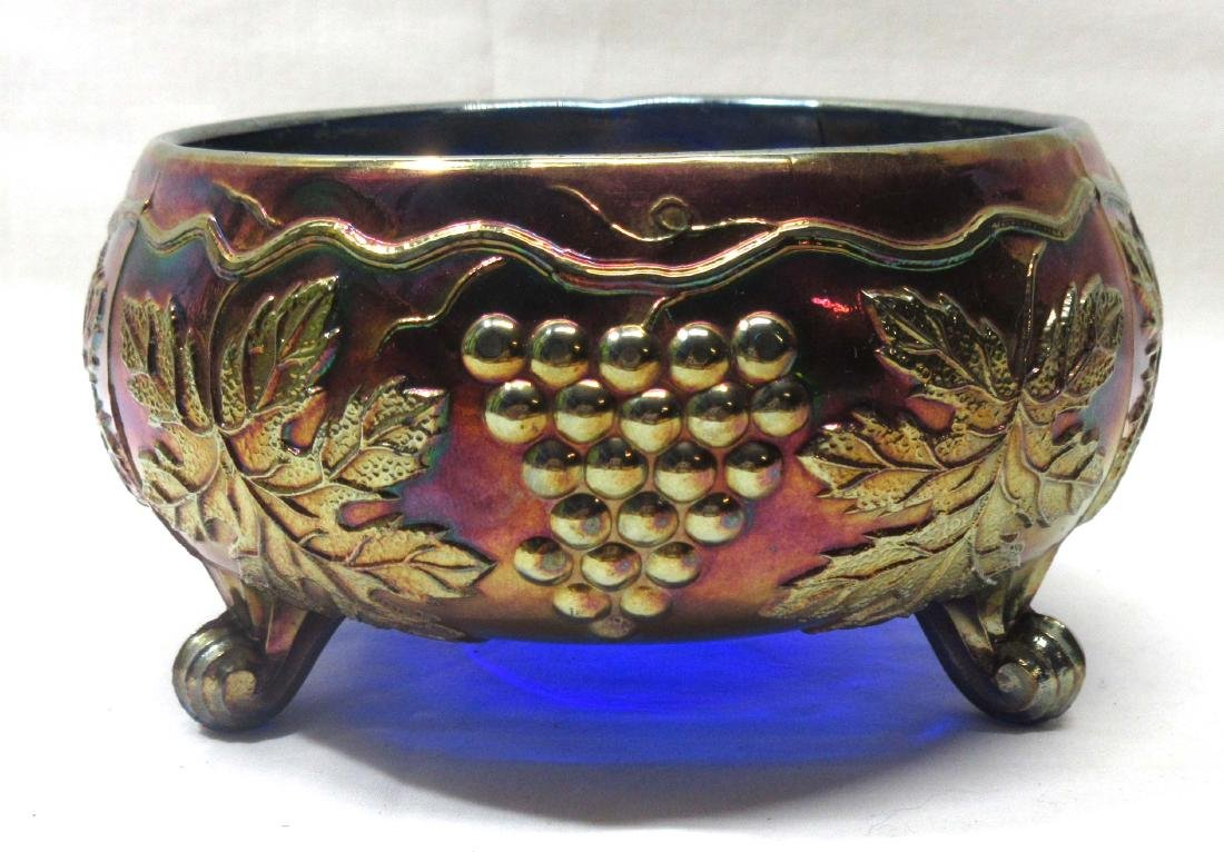 "Footed Carnival Glass Bowl ""Grapes"""