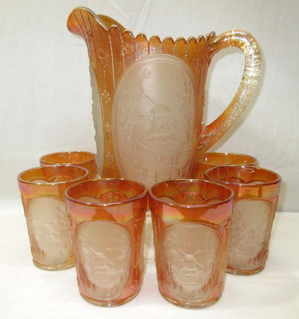 7pc Carnival Glass Water Set