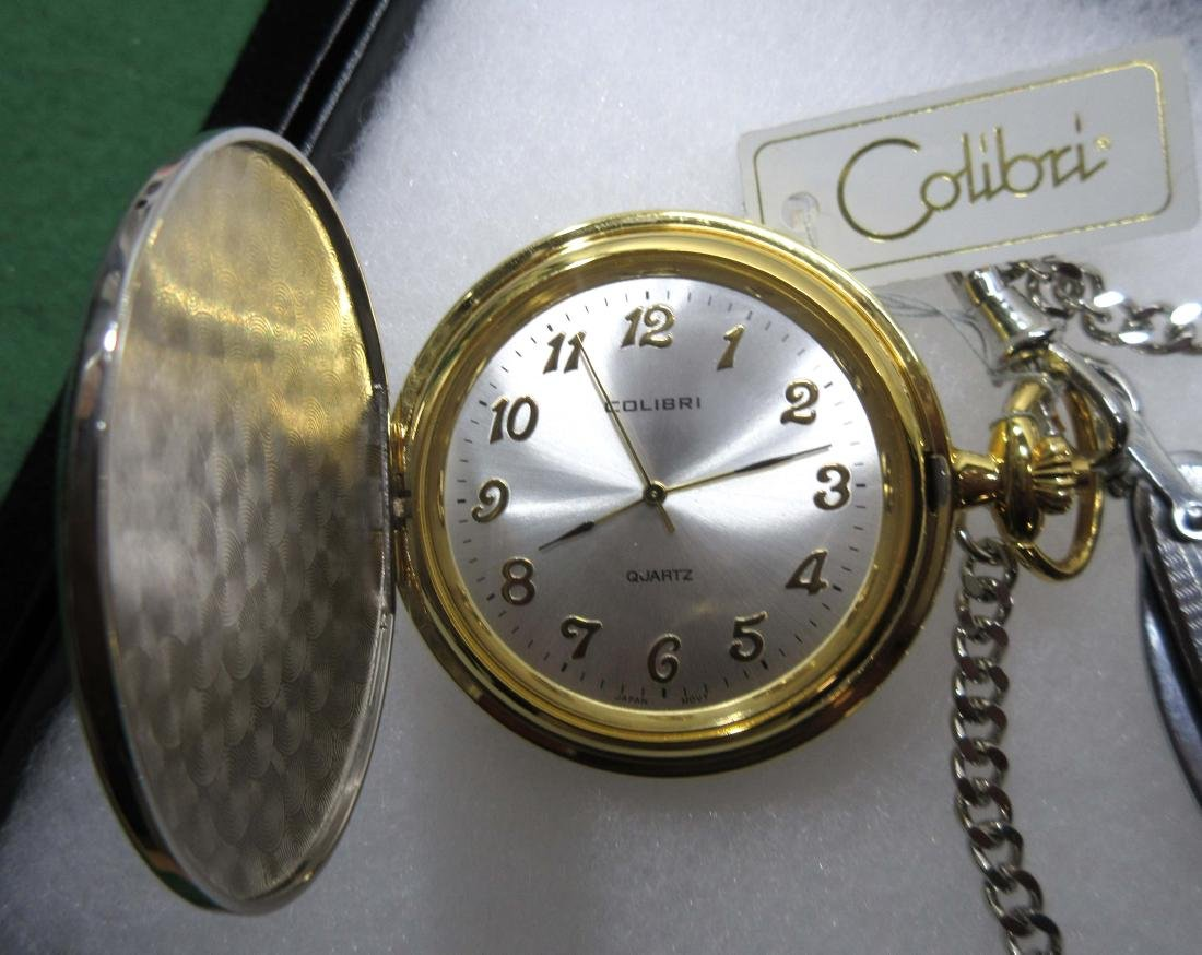 NIB Colibri Pocket Watch Chain & Knife - 3