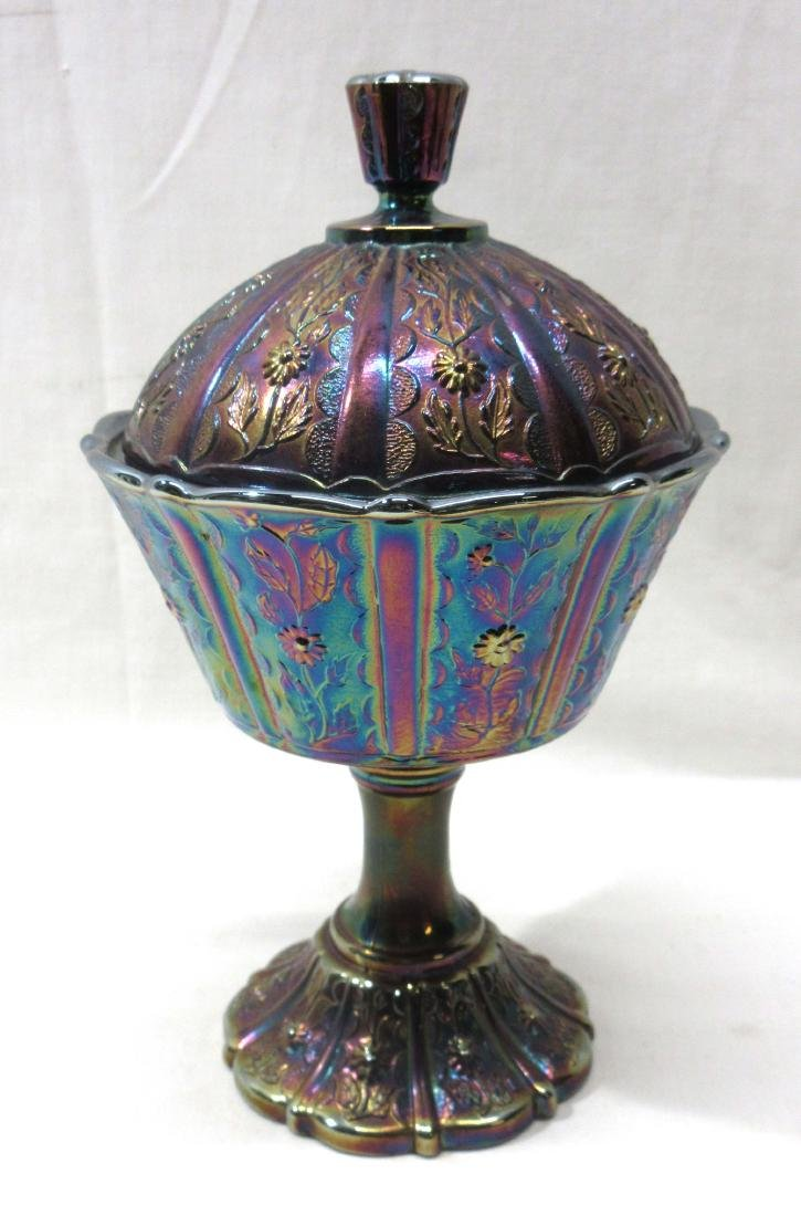 Fenton Carnival Glass Covered Candy Dish