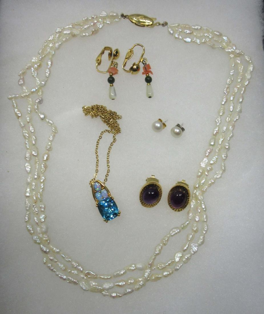 5pc Cultured Pearls & Gemstone Jewelry