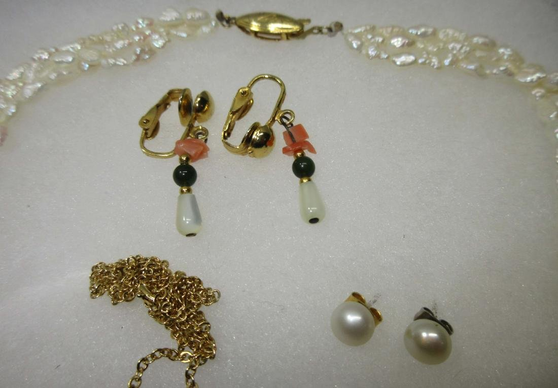 5pc Cultured Pearls & Gemstone Jewelry - 2
