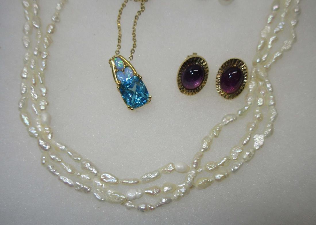 5pc Cultured Pearls & Gemstone Jewelry - 3