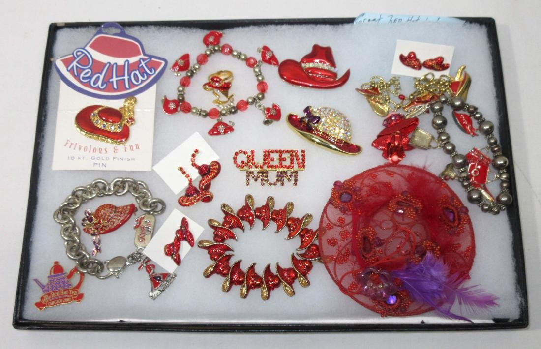 Lot of Red Hat Ladies Costume Jewelry