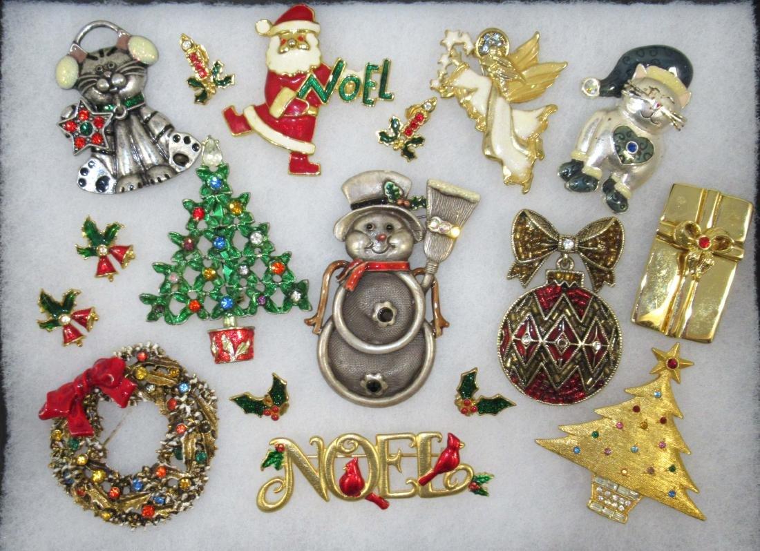 Designer Sgnd Vtg Christmas Jewelry, 14pc