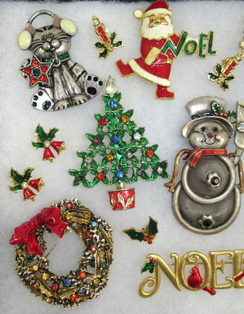 Designer Sgnd Vtg Christmas Jewelry, 14pc - 2